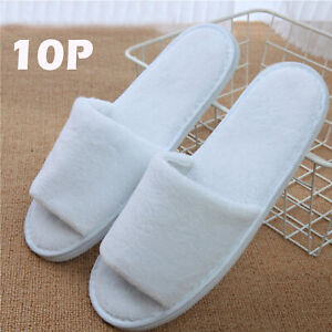 10 PAIRS SPA HOTEL GUEST SLIPPERS OPEN TOE TOWELLING DISPOSABLE TERRY STYLES
