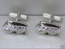 """CAMPER VAN"" GIFT - Drivers 20mm SILVER STYLE METAL Cuff Links in a GIFT BOX-NEW"