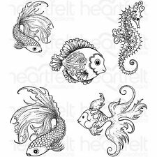 Under The Sea Fish Unmounted Rubber Stamps Set HEARTFELT CREATIONS HCPC 3739 New