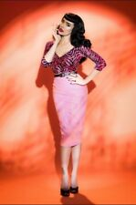 NWT Deadly Dames Downtown Moto Skirt Pink Faux Leather XS Pinup Couture