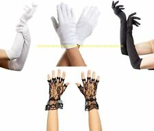 Ladies Long Finger Gloves Elbow Stretch Satin Halloween Opera Party Fancy Dress
