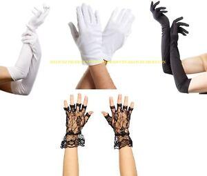 Ladies Long Finger Gloves Elbow Stretch Satin Halloween Opera Party Fancy Dress