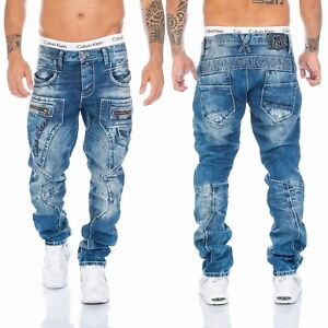 Cipo & Baxx Herren Regular Fit Jeans Hose 1178 Dicke Nähte Denim Mens Blau