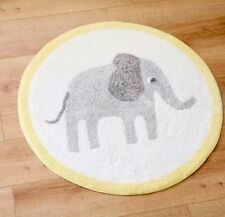 100% Cotton Elephant Washable Nursery Rug 80 x 80cm  Mat Bedroom ~ Anti slip