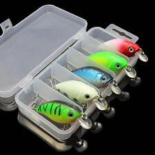 Lot 5Pcs Fishing Lures Kinds Of Minnow Fish Bass Tackle Hooks Baits Crankbait
