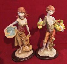 "Colorful Ceramic Porcelain Girl w Fish Basket and Boy w Veggie Fruit Basket 12"""