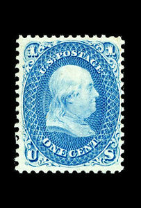 Framed Print - Benjamin Franklin Z-Grill Stamp 1868 Valued at $2,970,000 Picture