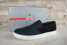 PRADA Gr 44,5 10,5 Slipper Slip-Ons Halbschuhe Schuhe  blau schwarz NEU UVP 470€