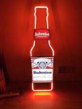 """BUDWEISER BOTTLE BUD LIGHT BUSCH BEER BAR MILLER VINTAGE NEON LIGHT SIGN 13""""X5""""Z"""
