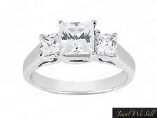 3/4ct Princess Cut Diamond Past Present Future Trellis Ring 14K White Gold F VS2