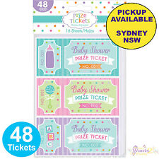 BABY SHOWER PARTY SUPPLIES 48 PRIZE TICKETS RAFFLE GAME ACTIVITY FAVOURS