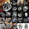 Men's Mixed Stainless Steel Steam Men Punk Ring Gothic Rings Cool Skull Jewelry