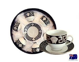FLORENCE MEDUSA FACE ESPRESSO COFFEE CUPS & SAUCERS SET OF 6 BLACK& SILVER AJ109
