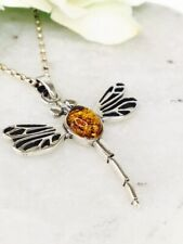 Sterling Silver 925 Natural Baltic Amber Dragonfly Pendant Necklace Chain.