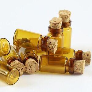 10 x Tiny 1ml AMBER Glass Bottles Cork Wood Stopper Vial Mini Jar Bottle Pendant
