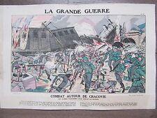 GRAVURE 1914 LA GRANDE GUERRE COMBAT AUTOUR DE CRACOVIE RUSSES CONVOI AUTRICHIEN