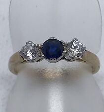 9ct Yellow & White Gold Sapphire & Cubic Zirconia 3 Stone Ring