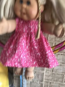 dolls clothes for baby born or cabbage patch doll 43 cm dress only Pink & White