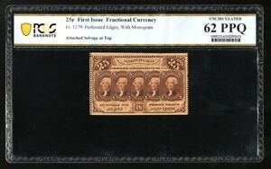 FR 1279 25c Fractional Currency 1st Issue Perf Edges PCGS 62PPQ