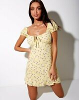 MOTEL ROCKS Galaca Mini Dress in Wild Flower Lemon Drop XS  (mr101)