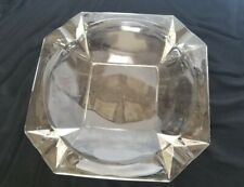 Large 8x8 Mid Century Clear Glass Octagon Ashtray - 2 lbs