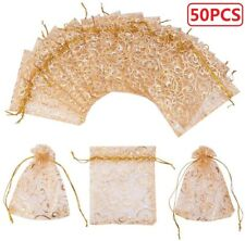 New Listing50Pcs Organza Gift Bags Wedding Favor Candys Jewelry Pouch Wrap with Drawstring