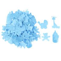 100 Pieces 4 Types Satin Applique DIY Decor Crafts Baby Shower Favors Blue