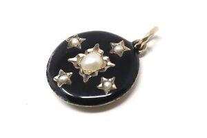 An Antique Victorian 9ct Yellow Gold Split Pearl Enamelled Locket Pendant #33025