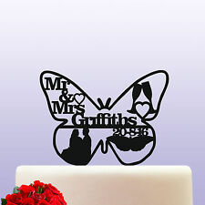 Personalised Butterfly Bride & Groom Acrylic Keepsake Wedding Cake Topper