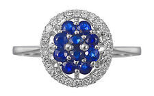 Solid 14K White Gold Blue Sapphire Cluster Colored Real Natural Diamond Ring