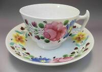 Antique Hand Painted Tea Cup Saucer Set Pink Roses Flowers Porcelain