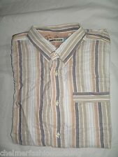 BNWOT - DUCK AND COVER Short Sleeve Striped  Shirt -  White Beige Large