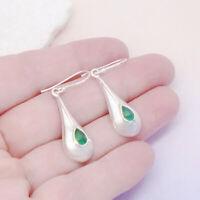 Indischer Smaragd Tropfen grün Design Ohrringe Ohrhänger 925 Sterling Silber neu