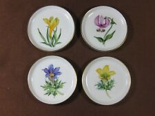"""Rosenthal Hand Painted 3 5/8"""" Coasters Set of 4 Signed by Artists Gold Trim"""