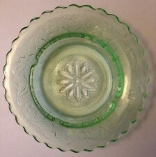 "Depression Glass Green Ashtray Flower Floral 7.5"" Sunflower Daisy Girly  Woman"