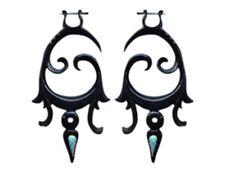 Carved Horn Tribal Earrings New Organic  Fake Gauge Post Dangle Buffalo Handmade