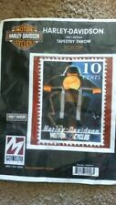 NEW Harley Davidson Tapestry / Throw / Blanket 10 cent stamp 100% Cotton 48 x 60