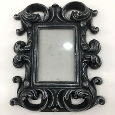 Picture frame 4x6 Silver Black Cold Steel Metal Looking Picture Frame Ornate EUC