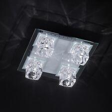 WOFI lámpara LED de techo visión 5 LLAMAS BLANCO FB CRISTAL DADO Vidrio Plano