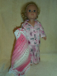 18 doll clothes fits American Girl & My Life - pink kitty pajamas, afghan