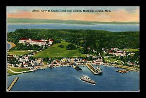 DR JIM STAMPS US GRAND HOTEL VILLAGE MACKINAC ISLAND MICHIGAN LINEN POSTCARD