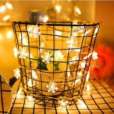5M 40 LED Snowflake Outdoor XMAS Fairy String Garland Christmas Tree Decorative