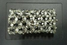 Crystal Faceted Rondelle Beads & Rhinestones Stretch Bracelet