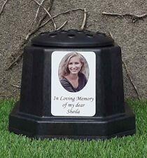 Grave Plaque Memorial Photo Rosebowl Vase Flower Holder with Personalised Plate