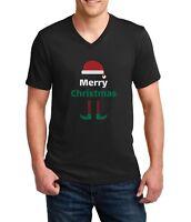 Men's V-neck Merry Christmas T Shirt Elf T-Shirt Santa Hat Vintage Gift Tee