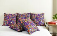 "Ethnic 17"" Blue Cushion Cover Pillow Embroidered Silk Dupioni Indian Sofa Throw"