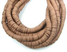 6mm Vinyl Heishe Polymer Clay African Disc Rondelle Beads - Light Brown 16