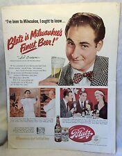 1951 Blatz Beer Sid Caesar Ad w Reverse Side Robert Merrill Camels Cigarette Ad