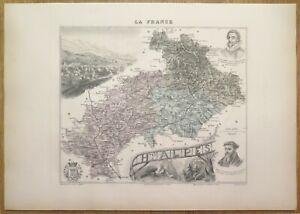 Gravure originale de 1895 - Carte du département des Hautes Alpes