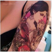 Goddess Athena Temporary Tattoo / Wise Owl, Mystic Lykos Wolf, Rose, Heart,Key